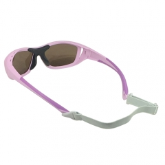 Flexible rubber sports sunglasse with detachable adjustable strap